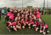 15 April 2018; Metropolitan Girls League team celebrate after winning the FAI Women's U18 Inter-League Cup Final match between Donegal Women's League and Metropolitan Girls League at Monaghan United in Gortakeegan, Co. Monaghan. Photo by Philip Fitzpatrick/Sportsfile