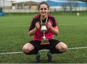 15 April 2018; Metropolitan Girls League captain Kerri Duffy after the FAI Women's U18 Inter-League Cup Final match between Donegal Women's League and Metropolitan Girls League at Monaghan United in Gortakeegan, Co. Monaghan. Photo by Philip Fitzpatrick/Sportsfile