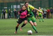 15 April 2018; Niamh Murphy of Metropolitan Girls League in action against Suzie Whyte of Donegal Women's League during the FAI Women's U18 Inter-League Cup Final match between Donegal Women's League and Metropolitan Girls League at Monaghan United in Gortakeegan, Co. Monaghan. Photo by Philip Fitzpatrick/Sportsfile