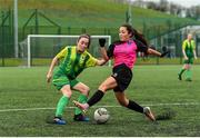 15 April 2018; Niamh Murphy of Metropolitan Girls League in action against Mollie Page of Donegal Women's League during the FAI Women's U18 Inter-League Cup Final match between Donegal Women's League and Metropolitan Girls League at Monaghan United in Gortakeegan, Co. Monaghan. Photo by Philip Fitzpatrick/Sportsfile