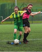 15 April 2018; Erika Browne of Metropolitan Girls League in action against Mollie Page of Donegal Women's League during the FAI Women's U18 Inter-League Cup Final match between Donegal Women's League and Metropolitan Girls League at Monaghan United in Gortakeegan, Co. Monaghan. Photo by Philip Fitzpatrick/Sportsfile