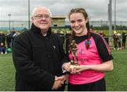 15 April 2018; Jim McConnell presents Jessica Darby of Metropolitan Girls League with the player of the match award after the FAI Women's U18 Inter-League Cup Final match between Donegal Women's League and Metropolitan Girls League at Monaghan United in Gortakeegan, Co. Monaghan. Photo by Philip Fitzpatrick/Sportsfile