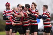 15 April 2018; Ivan Jacob of Enniscorthy celebrates with teammates after scoring a try during the Bank of Ireland Provincial Towns Cup Semi-Final match between Enniscorthy RFC and Ashbourne RFC at Cill Dara RFC in Kildare. Photo by Ramsey Cardy/Sportsfile