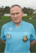 15 April 2018; Referee Brendan Gillespie prior to kick off for the FAI Women's U18 Inter-League Cup Final match between Donegal Women's League and Metropolitan Girls League at Monaghan United in Gortakeegan, Co. Monaghan. Photo by Philip Fitzpatrick/Sportsfile