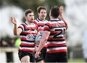 15 April 2018; David O'Dwyer of Enniscorthy celebrates with Killian Lett after scoring a try for his side during the Bank of Ireland Provincial Towns Cup Semi-Final match between Enniscorthy RFC and Ashbourne RFC at Cill Dara RFC in Kildare. Photo by Eóin Noonan/Sportsfile