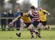 15 April 2018; Richard Dunne of Enniscorthy is tackled by Sean McKeon of Ashbourne during the Bank of Ireland Provincial Towns Cup Semi-Final match between Enniscorthy RFC and Ashbourne RFC at Cill Dara RFC in Kildare. Photo by Eóin Noonan/Sportsfile