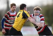 15 April 2018; John Daly of Enniscorthy is tackled by Casey Dunne of Ashbourne during the Bank of Ireland Provincial Towns Cup Semi-Final match between Enniscorthy RFC and Ashbourne RFC at Cill Dara RFC in Kildare. Photo by Eóin Noonan/Sportsfile