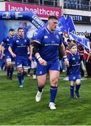 14 April 2018; Matchday mascot 6 year old Nick Boland, from Kiltegan, Wicklow, with Leinster's Andrew Porter at the Guinness PRO14 Round 20 match between Leinster and Benetton Rugby at the RDS Arena in Ballsbridge, Dublin. Photo by Seb Daly/Sportsfile
