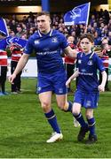 14 April 2018; Matchday mascot 11 year old Oz Conboy, from Maynooth, Kildare, with Leinster's Jordan Larmour at the Guinness PRO14 Round 20 match between Leinster and Benetton Rugby at the RDS Arena in Ballsbridge, Dublin. Photo by Seb Daly/Sportsfile