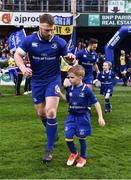 14 April 2018; Matchday mascot 5 year old Bobby Kelly-Flynn, from Leopardstown, Dublin, with Leinster's Sean O'Brien at the Guinness PRO14 Round 20 match between Leinster and Benetton Rugby at the RDS Arena in Ballsbridge, Dublin. Photo by Seb Daly/Sportsfile