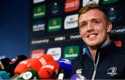 16 April 2018; Dan Leavy during a Leinster Rugby press conference at Leinster Rugby Headquarters in Dublin. Photo by Ramsey Cardy/Sportsfile