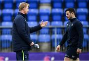 16 April 2018; Head coach Leo Cullen in conversation with Robbie Henshaw during Leinster Rugby squad training at Energia Park in Dublin. Photo by Ramsey Cardy/Sportsfile
