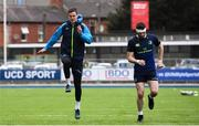16 April 2018; Jonathan Sexton, left, and Barry Daly during Leinster Rugby squad training at Energia Park in Dublin. Photo by Ramsey Cardy/Sportsfile