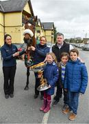 15 April 2018; The winner of the 2018 Randox Health Aintree Grand National Tiger Roll outside Shaw's pub in the village of Summerhill in County Meath with grooms Karen Morgan, left, and Louise Dunne, trainer Gordon Elliott and Tianna, Zack and Matt O'Leary, children of owner Michael O'Leary. Photo by Brendan Moran/Sportsfile