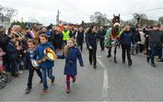 15 April 2018; The winner of the 2018 Randox Health Aintree Grand National Tiger Roll outside Shaw's pub in the village of Summerhill in County Meath with grooms Karen Morgan and Louise Dunne, and Zack, Matt and Tianna O'Leary, children of owner Michael O'Leary. Photo by Brendan Moran/Sportsfile