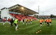 16 April 2018; Derry City players warm up prior to the SSE Airtricity League Premier Division match between Derry City and Bohemians at the Brandywell Stadium in Derry. Photo by Oliver McVeigh/Sportsfile
