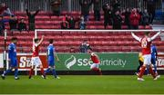16 April 2018; Ryan Brennan of St Patrick's Athletic celebrates after scoring his side's first goal during the SSE Airtricity League Premier Division match between St Patrick's Athletic and Waterford at Richmond Park in Dublin. Photo by David Fitzgerald/Sportsfile