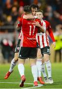 16 April 2018; Aaron McEneff of Derry City celebrates with team-mate Rory Patterson after scoring his side's first goal during the SSE Airtricity League Premier Division match between Derry City and Bohemians at the Brandywell Stadium in Derry. Photo by Oliver McVeigh/Sportsfile