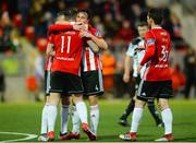 16 April 2018; Aaron McEneff of Derry City celebrates with team-mate Rory Patterson, left, after scoring his side's first goal during the SSE Airtricity League Premier Division match between Derry City and Bohemians at the Brandywell Stadium in Derry. Photo by Oliver McVeigh/Sportsfile