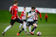 16 April 2018; Karl Moore of Bohemians in action against Ronan Curtis and Rory Hale of Derry City during the SSE Airtricity League Premier Division match between Derry City and Bohemians at the Brandywell Stadium in Derry. Photo by Oliver McVeigh/Sportsfile