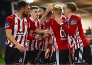 16 April 2018; Rory Patterson, centre, of Derry City is congratulated by team-mates after scoring his side's second goal during the SSE Airtricity League Premier Division match between Derry City and Bohemians at the Brandywell Stadium in Derry. Photo by Oliver McVeigh/Sportsfile