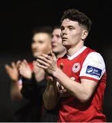 16 April 2018; Dean Clarke of St Patrick's Athletic applauds the supporters following the SSE Airtricity League Premier Division match between St Patrick's Athletic and Waterford at Richmond Park in Dublin. Photo by David Fitzgerald/Sportsfile