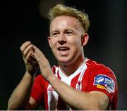 16 April 2018; Nicky Low of Derry City celebrates after scoring his side's third goal during the SSE Airtricity League Premier Division match between Derry City and Bohemians at the Brandywell Stadium in Derry. Photo by Oliver McVeigh/Sportsfile