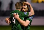 16 April 2018; Hugh Douglas of Bray Wanderers, behind, celebrates with team-mate Conor Kenna after the SSE Airtricity League Premier Division match between Bray Wanderers and Shamrock Rovers at the Carlisle Grounds in Bray, Wicklow. Photo by Piaras Ó Mídheach/Sportsfile