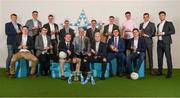 16 April 2018; The football team with Uachtarán Chumann Lúthchleas Gael John Horan, Jim Dollard, Executive Director Electric Ireland, and Gerry Tully, Chairman of Comhairle Ardoideachais CLG, at the Electric Ireland HE GAA Football & Hurling Rising Stars Awards for 2018, in Croke Park. The awards acknowledge outstanding performances in the battle for third level football and hurling Championships and come at the end of what was an epic season of GAA action.   Back Row, from left: DIT footballer Brian Power, from Meath, Ulster University footballer Michael McKernan from Tyrone, UCD footballer Liam Casey from Tipperary, Jim Dollard, Executive Director Electric Ireland, Gerry Tully, Chairman of Comhairle Ardoideachais CLG, UCD footballer Evan O'Carroll from Laois, NUIG footballer Tadhg O'Malley from Galway, UCD footballer Jack Barry from Kerry, DIT footballer Andrew McGowan, from Dublin.  Front Row, from left:  Ulster University footballer Gareth McKinless from Derry, NUIG footballer Enda Tierney from Galway, Ulster University footballer Mark Bradley from Tyrone, Uachtarán Chumann Lúthchleas Gael John Horan, UCD footballer Conor McCarthy from Monaghan, NUIG footballer Damien Comer from Galway, UCD footballer Conor Mullally from Dublin. Photo by Stephen McCarthy/Sportsfile