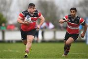 15 April 2018; Angelo Todisco, left, and Arthur Dunne of Enniscorthy during the Bank of Ireland Provincial Towns Cup Semi-Final match between Tullow RFC and Wicklow RFC at Cill Dara RFC in Kildare. Photo by Ramsey Cardy/Sportsfile