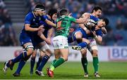 14 April 2018; Noel Reid of Leinster is tackled by Alessandro Zanni of Treviso during the Guinness PRO14 Round 20 match between Leinster and Benetton Rugby at the RDS Arena in Dublin. Photo by Ramsey Cardy/Sportsfile