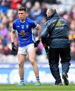 1 April 2018; Dara McVeety of Cavan with the team physio after picking up an injury during the Allianz Football League Division 2 Final match between Cavan and Roscommon at Croke Park in Dublin. Photo by Piaras Ó Mídheach/Sportsfile