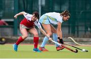8 April 2018; Deirdre Duke of UCD in action against Pamela Glass of Pegasus during the Women's Irish Senior Cup Final match between UCD and Pegasus at the National Hockey Stadium in UCD, Dublin. Photo by David Fitzgerald/Sportsfile