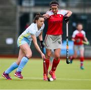 8 April 2018; Sarah Young of UCD in action against Michelle Harvey of Pegasus during the Women's Irish Senior Cup Final match between UCD and Pegasus at the National Hockey Stadium in UCD, Dublin. Photo by David Fitzgerald/Sportsfile