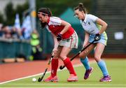 8 April 2018; Michelle Harvey of Pegasus in action against Sarah Young of UCD during the Women's Irish Senior Cup Final match between UCD and Pegasus at the National Hockey Stadium in UCD, Dublin. Photo by David Fitzgerald/Sportsfile