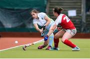 8 April 2018; Katie Mullan of UCD in action against Grace Irwin of Pegasus during the Women's Irish Senior Cup Final match between UCD and Pegasus at the National Hockey Stadium in UCD, Dublin. Photo by David Fitzgerald/Sportsfile