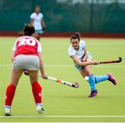 8 April 2018; Sarah Young of UCD in action against Grace Irwin of Pegasus during the Women's Irish Senior Cup Final match between UCD and Pegasus at the National Hockey Stadium in UCD, Dublin. Photo by David Fitzgerald/Sportsfile