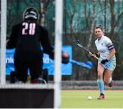 8 April 2018; Deirdre Duke of UCD in action against Sammy-Jo Greer of Pegasus during the Women's Irish Senior Cup Final match between UCD and Pegasus at the National Hockey Stadium in UCD, Dublin. Photo by David Fitzgerald/Sportsfile
