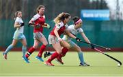 8 April 2018; Bethany Barr of UCD in action against Ruth Maguire of Pegasus during the Women's Irish Senior Cup Final match between UCD and Pegasus at the National Hockey Stadium in UCD, Dublin. Photo by David Fitzgerald/Sportsfile