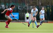 8 April 2018; Katie Mullan of UCD in action against Michelle Harvey of Pegasus during the Women's Irish Senior Cup Final match between UCD and Pegasus at the National Hockey Stadium in UCD, Dublin. Photo by David Fitzgerald/Sportsfile