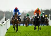 17 April 2018; Screaming Colours, with Roger Loughran up, left, on their way to winning The Mongey Communications Beginners Steeplechase ahead of De Plotting Shed, with Davy Russell up, who finished second, on Handicap Hurdle Day during the Fairyhouse Festival at Fairyhouse Racecourse in Meath. Photo by Sam Barnes/Sportsfile