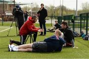 17 April 2018; Strength and conditioning coach PJ Wilson speaks to Peter O'Mahony and Keith Earls during Munster Rugby squad training at the University of Limerick in Limerick. Photo by Diarmuid Greene/Sportsfile