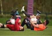 17 April 2018; CJ Stander and Jean Kleyn stretch during Munster Rugby squad training at the University of Limerick in Limerick. Photo by Diarmuid Greene/Sportsfile
