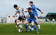 17 April 2018; Jamie McGrath of Dundalk in action against Killian Cantwell and Billy Dennehy of Limerick FC during the SSE Airtricity League Premier Division match between Limerick FC and Dundalk at the Markets Field in Limerick. Photo by Diarmuid Greene/Sportsfile