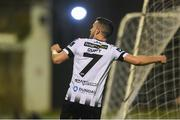 17 April 2018; Michael Duffy of Dundalk celebrates after scoring his side's third goal during the SSE Airtricity League Premier Division match between Limerick FC and Dundalk at the Markets Field in Limerick. Photo by Diarmuid Greene/Sportsfile