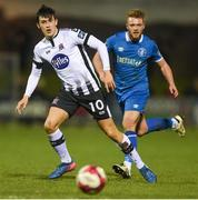 17 April 2018; Jamie McGrath of Dundalk in action against Conor Clifford of Limerick FC during the SSE Airtricity League Premier Division match between Limerick FC and Dundalk at the Markets Field in Limerick. Photo by Diarmuid Greene/Sportsfile