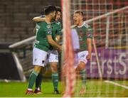 17 April 2018; Jimmy Keohane, left, of Cork City celebrates with team-mates Barry McNamee, centre, and Colm Horgan after scoring his side's first goal during the SSE Airtricity League Premier Division match between Cork City and Sligo Rovers at Turner's Cross in Cork. Photo by Eóin Noonan/Sportsfile