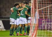 17 April 2018; Jimmy Keohane of Cork City celebrates with team-mates after scoring his side's first goal during the SSE Airtricity League Premier Division match between Cork City and Sligo Rovers at Turner's Cross in Cork. Photo by Eóin Noonan/Sportsfile