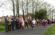 18 April 2018; Pupils from St. Brigid's National School run The Daily Mile watched by from left, John Mayock (INEOS), former British Olympian, John Treacy, CEO Sport Ireland, Brendan Griffin TD, Minister of State for Tourism and Sport, 3-time Olympian Eamonn Coghlan, John Foley, CEO of Athletics Ireland, Elaine Wyllie, founder of The Daily Mile and Georgina Drumm. President of Athletics Ireland, at the The Daily Mile launch at St. Brigid's National School in Castleknock, Dublin. Photo by Matt Browne/Sportsfile