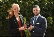 18 April 2018; Ian Monks, Senior Manager at The Croke Park Hotel, presents Aishling Moloney of Dublin City University and Tipperary with The Croke Park Hotel and LGFA Player of the Month award for March, at The Croke Park Hotel in Jones Road, Dublin. Aishling captained Dublin City University to victory in the prestigious Gourmet Food Parlour Ladies HEC O'Connor Cup competition, while Tipperary have also progressed to the Division 2 semi-finals in the Lidl Ladies National Football League. Photo by Matt Browne/Sportsfile